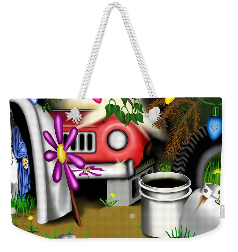 Surrealism Weekender Tote Bag featuring the digital art Garden Landscape I - Into The Trailorpark by Robert Morin