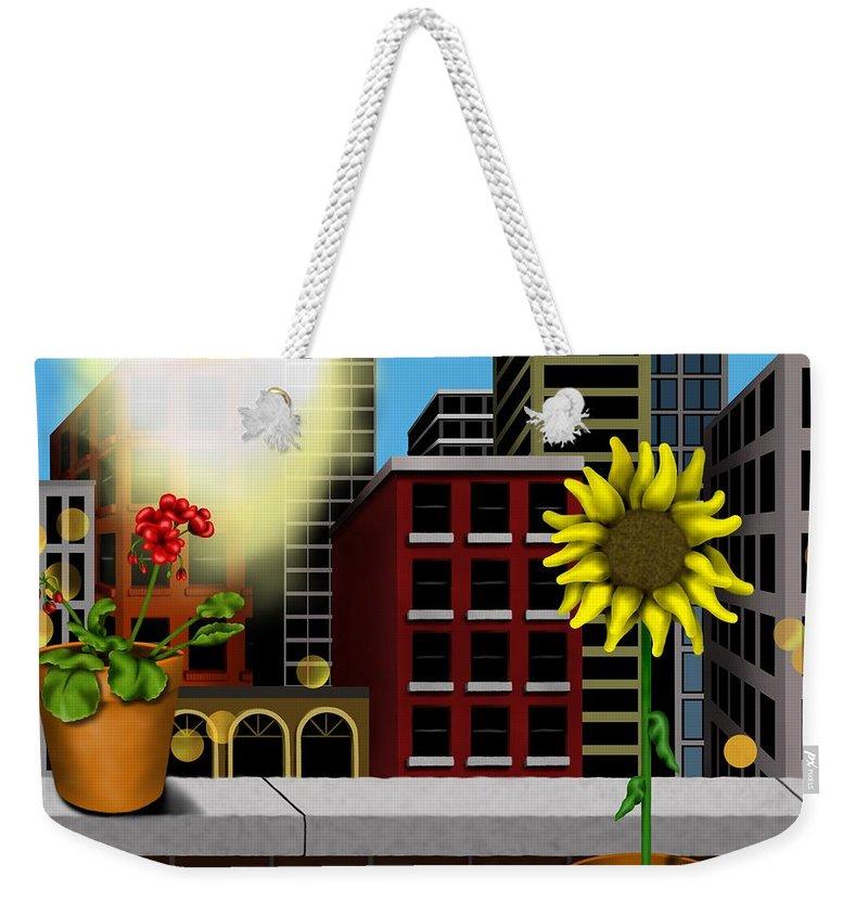 Surrealism Weekender Tote Bag featuring the digital art Garden Landscape II - Across The Urban Jungle by Robert Morin