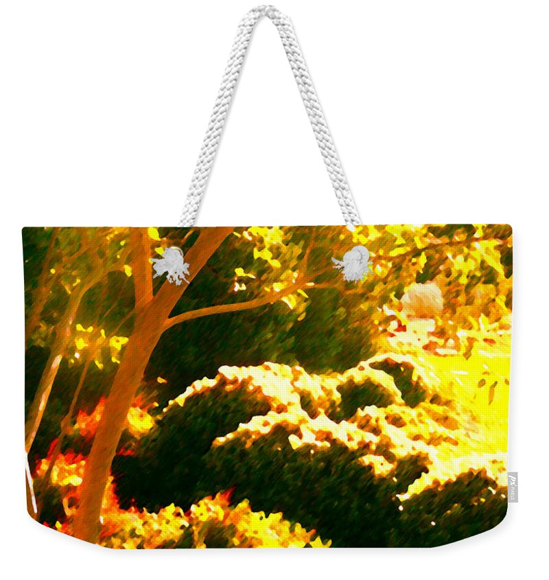 Landscapes Weekender Tote Bag featuring the painting Garden Landscape On A Sunny Day by Amy Vangsgard