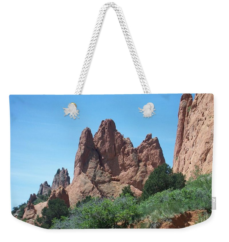 Colorado Weekender Tote Bag featuring the photograph Garden Of The Gods 2 by Anita Burgermeister