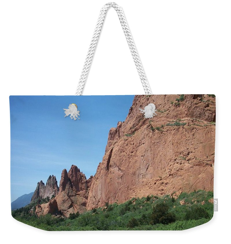 Colorado Weekender Tote Bag featuring the photograph Garden Of The Gods by Anita Burgermeister