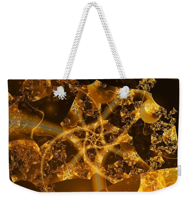 Fractal Art Weekender Tote Bag featuring the digital art Garden Of The Golden Orbs by Ron Bissett