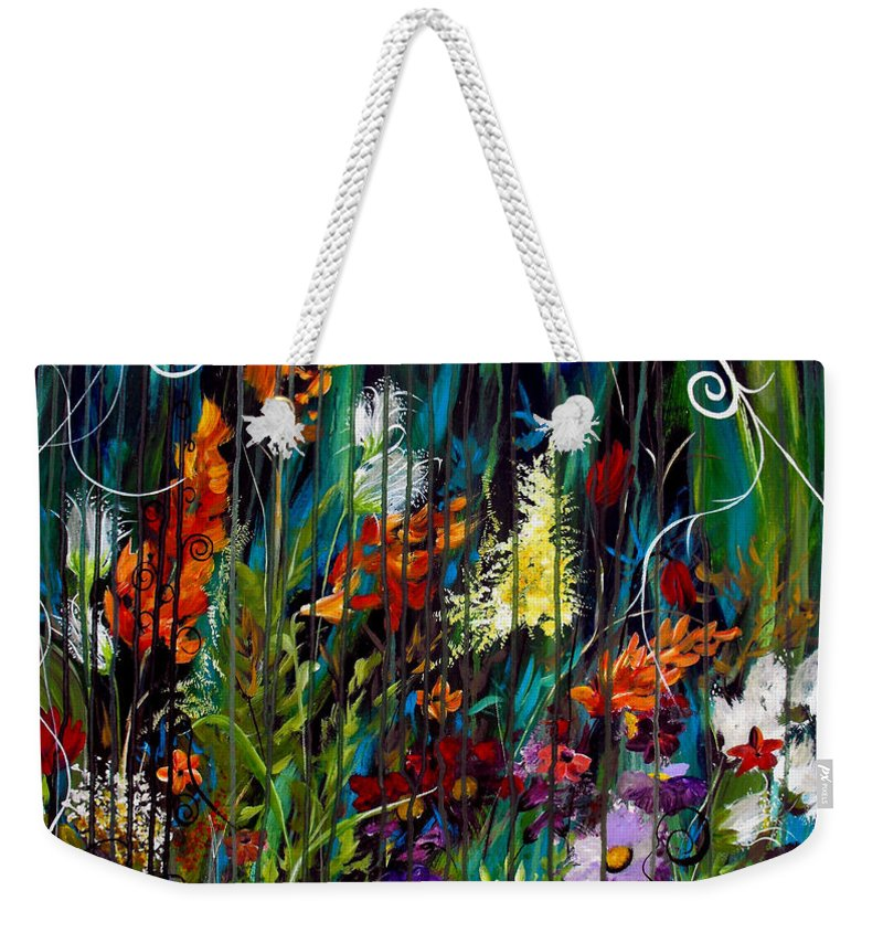 Abstract Weekender Tote Bag featuring the painting Garden Of Wishes by Ruth Palmer