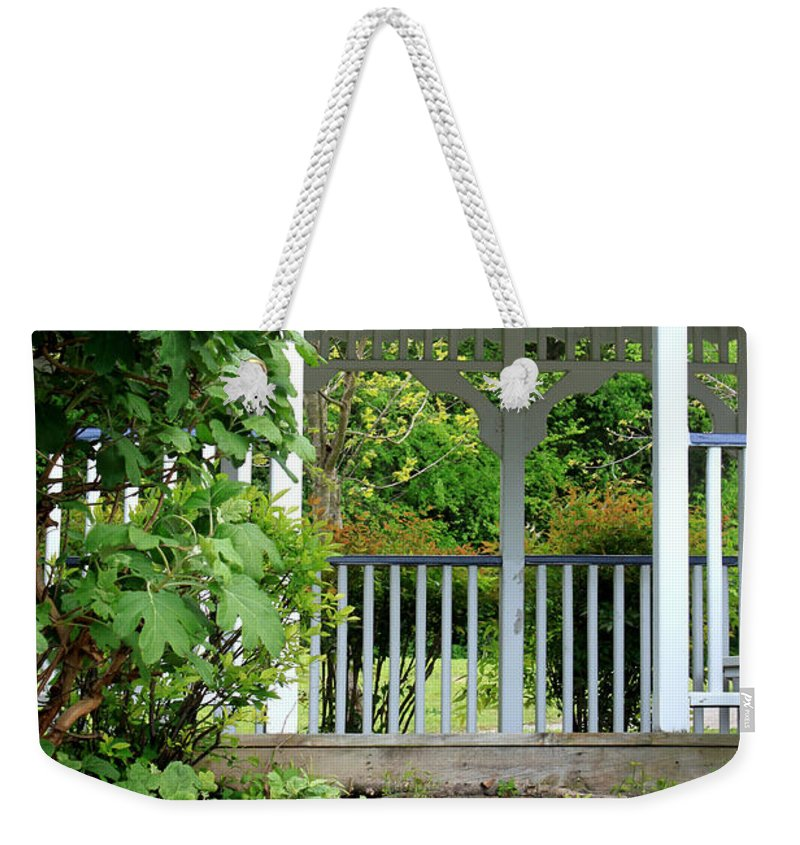 Landscape Weekender Tote Bag featuring the photograph Garden Path And Gazebo by Todd Blanchard
