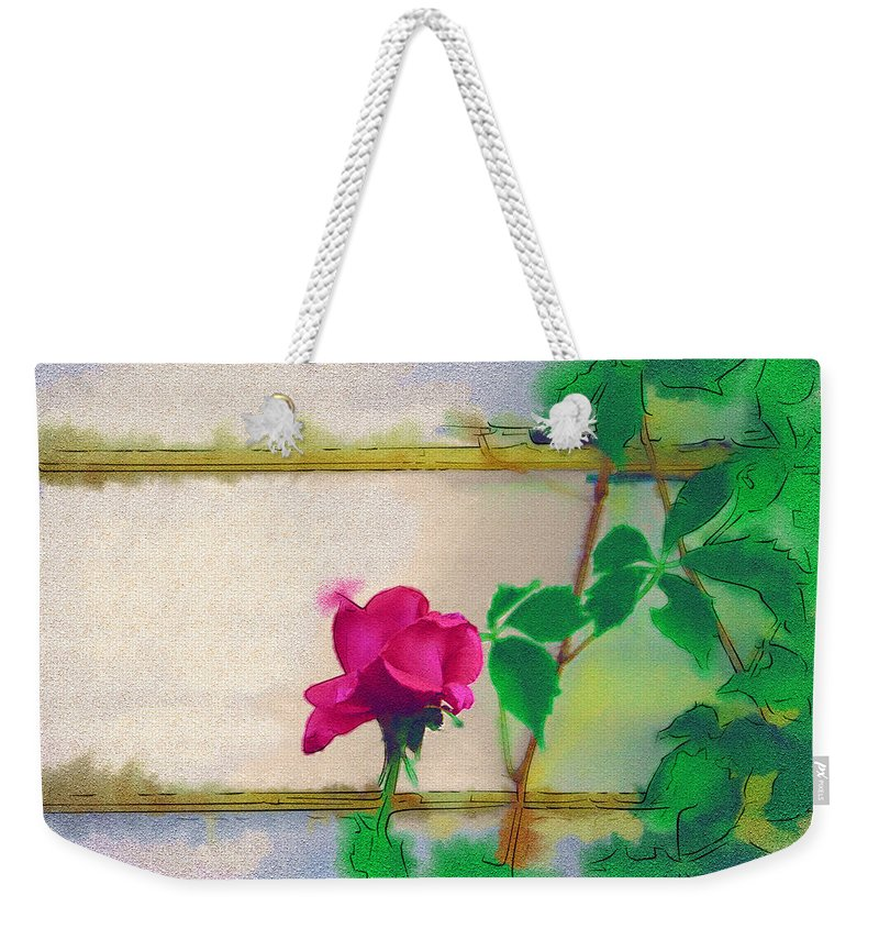 Rose Weekender Tote Bag featuring the digital art Garden Rose by Holly Ethan