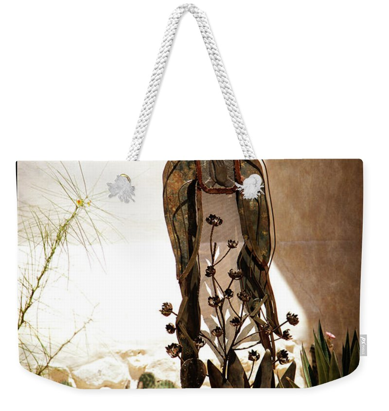 Mission Weekender Tote Bag featuring the photograph Garden Saint by Nancy Forehand