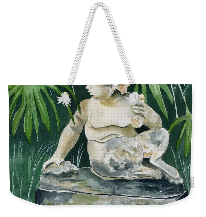 Watercolor Weekender Tote Bag featuring the painting Garden Satyr by Brenda Owen