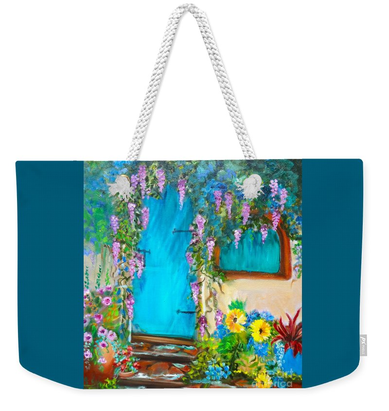 Garden Florals Weekender Tote Bag featuring the painting Garden Secrets - Wisteria by Jenny Lee