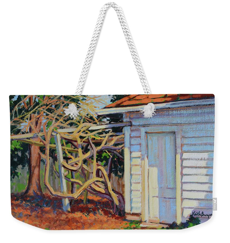 Impressionism Weekender Tote Bag featuring the painting Garden Shed by Keith Burgess