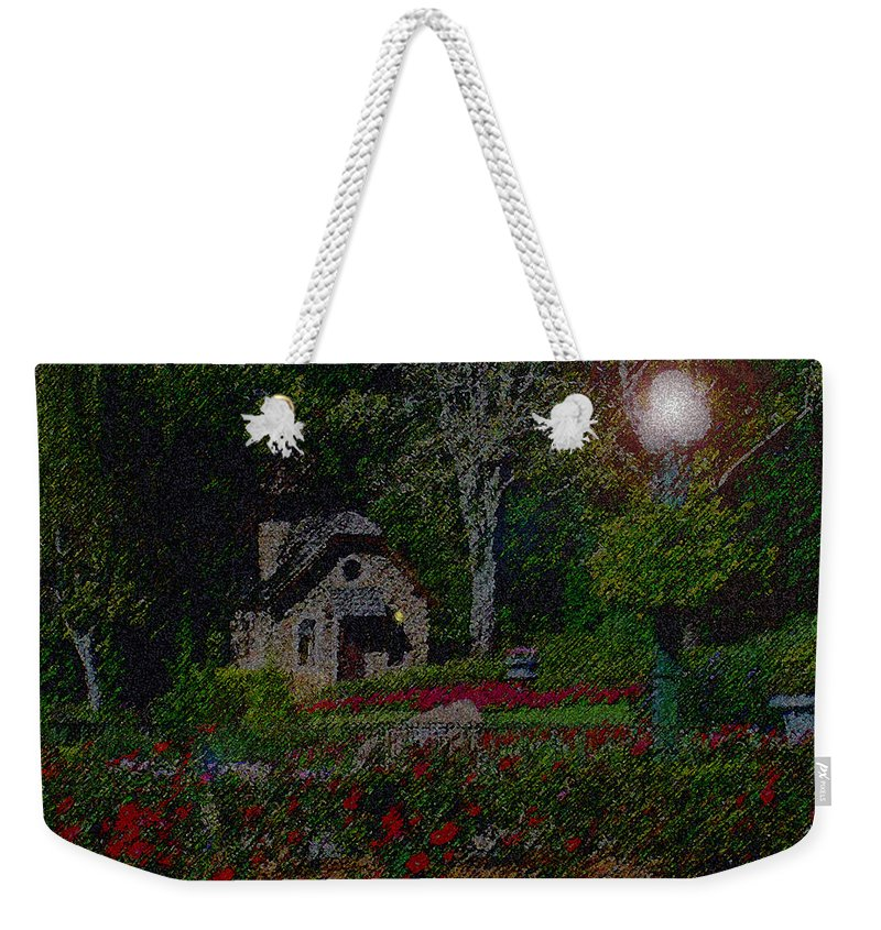 Dusk Weekender Tote Bag featuring the mixed media Garden Sleeping by Shirley Heyn