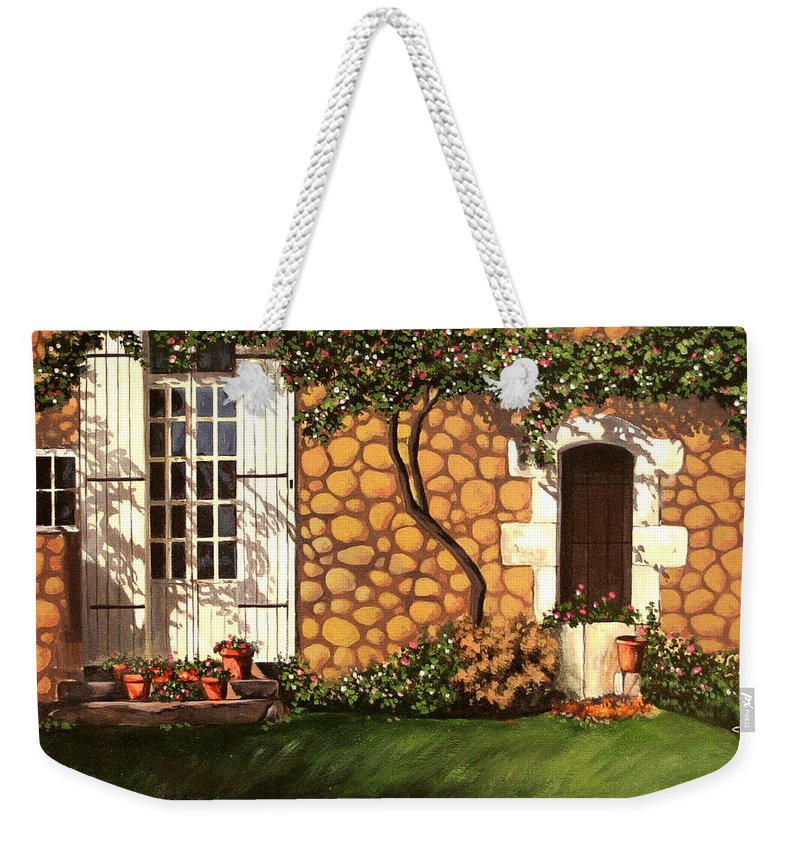 Garden Weekender Tote Bag featuring the painting Garden Wall by Daniel Carvalho