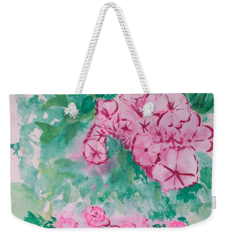 Impressionism Weekender Tote Bag featuring the painting Garden With Pink Flowers by J R Seymour