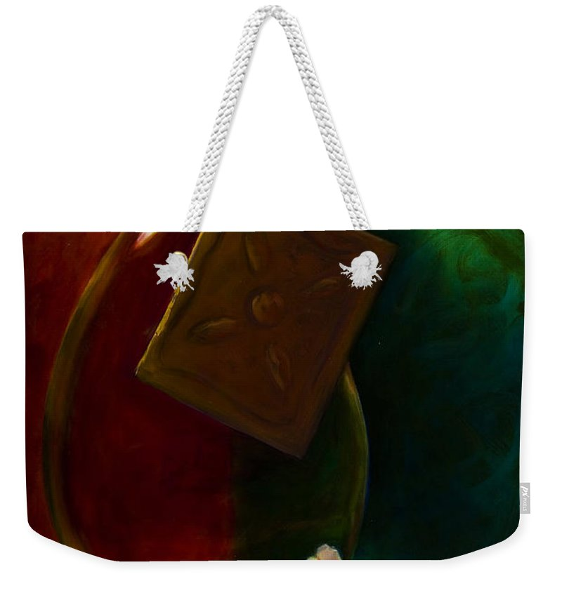Shannon Grissom Weekender Tote Bag featuring the painting Garlic And Oil by Shannon Grissom