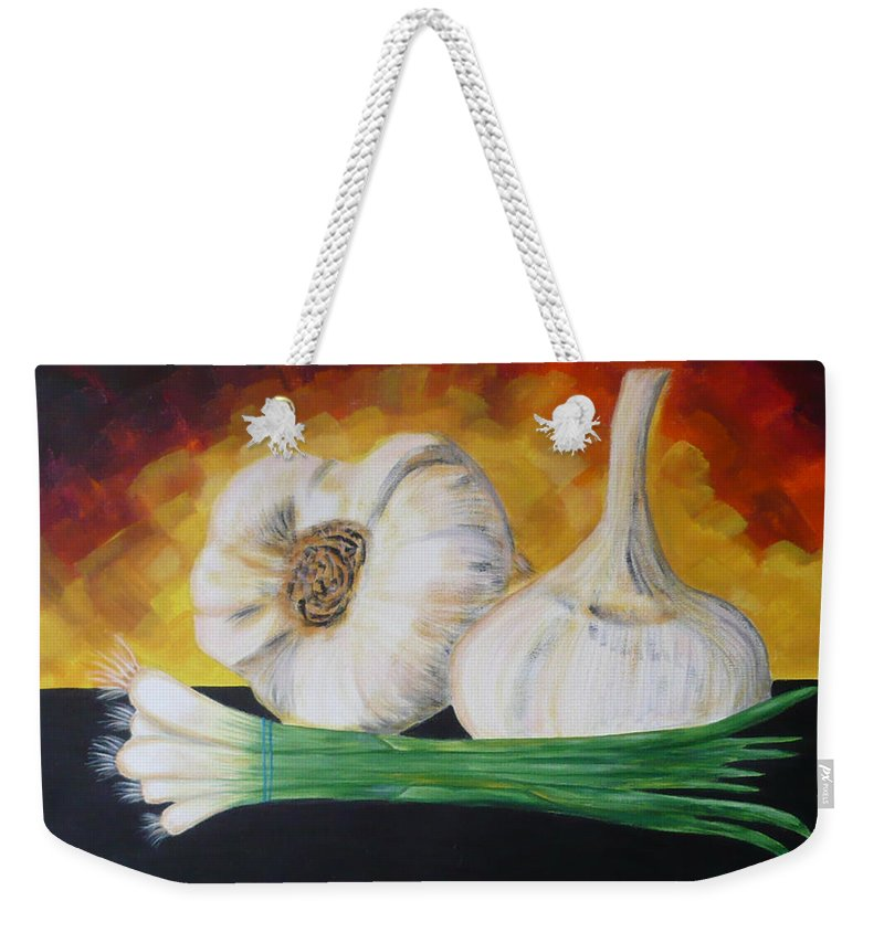 Garlic Weekender Tote Bag featuring the painting Garlic And Onion by Monika Shepherdson