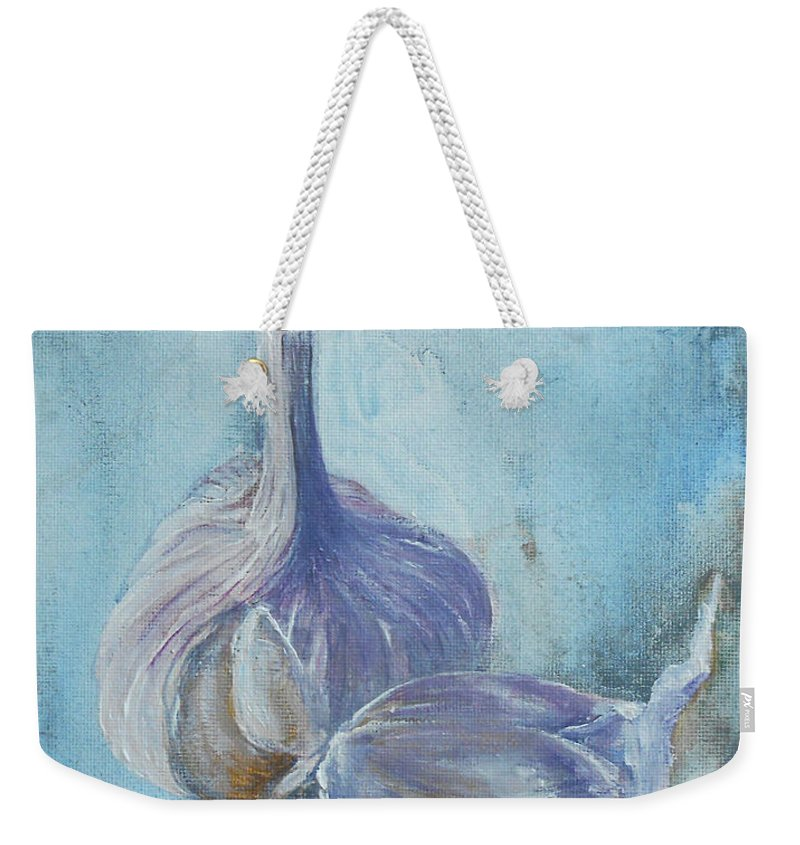 Still Life Weekender Tote Bag featuring the painting Garlic by Jane See