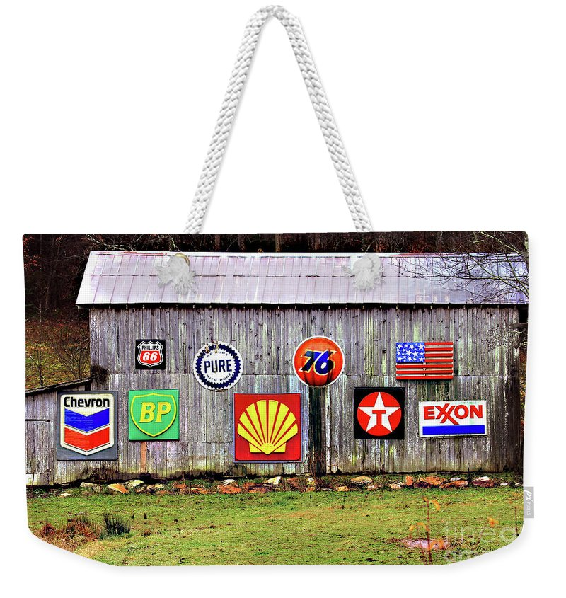 Gas From The Past Weekender Tote Bag featuring the photograph Gas From The Past by Jennifer Robin