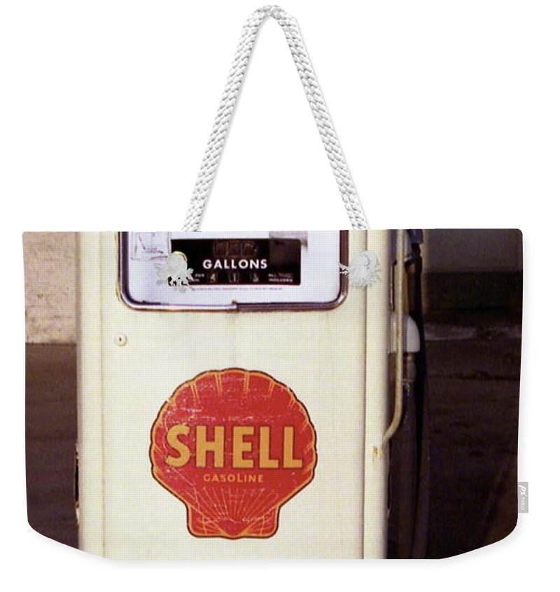 Antique Weekender Tote Bag featuring the photograph Gas Pump by Michael Peychich