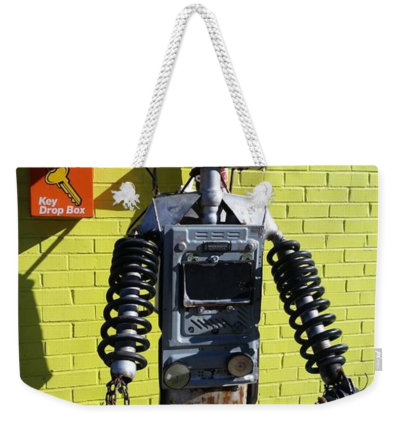 Weekender Tote Bag featuring the photograph Gas Station Robot by Zac AlleyWalker Lowing
