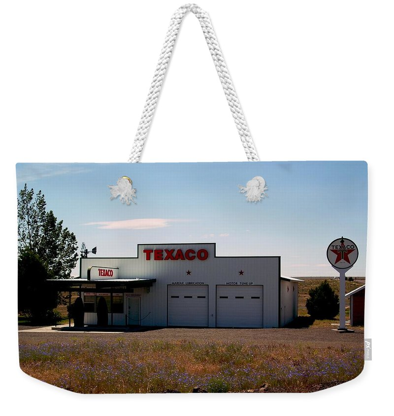Gas Weekender Tote Bag featuring the photograph Gas Station by Sara Stevenson