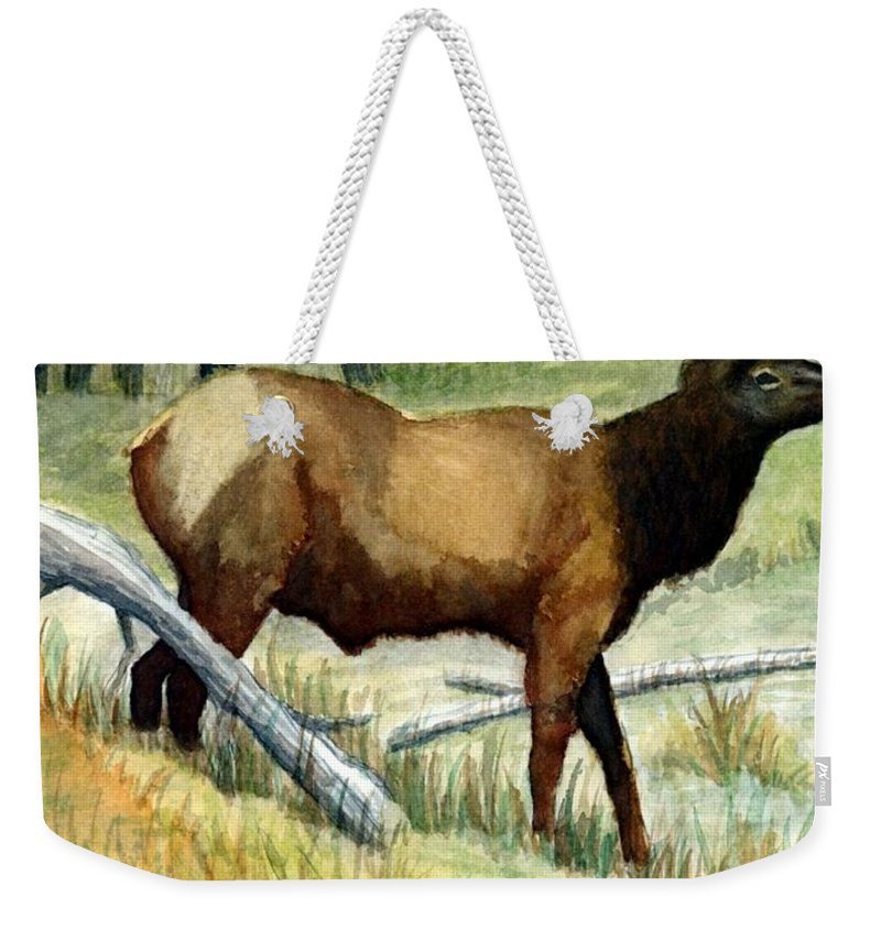 Wildlife Weekender Tote Bag featuring the painting Gash Flats Bull by Jimmy Smith
