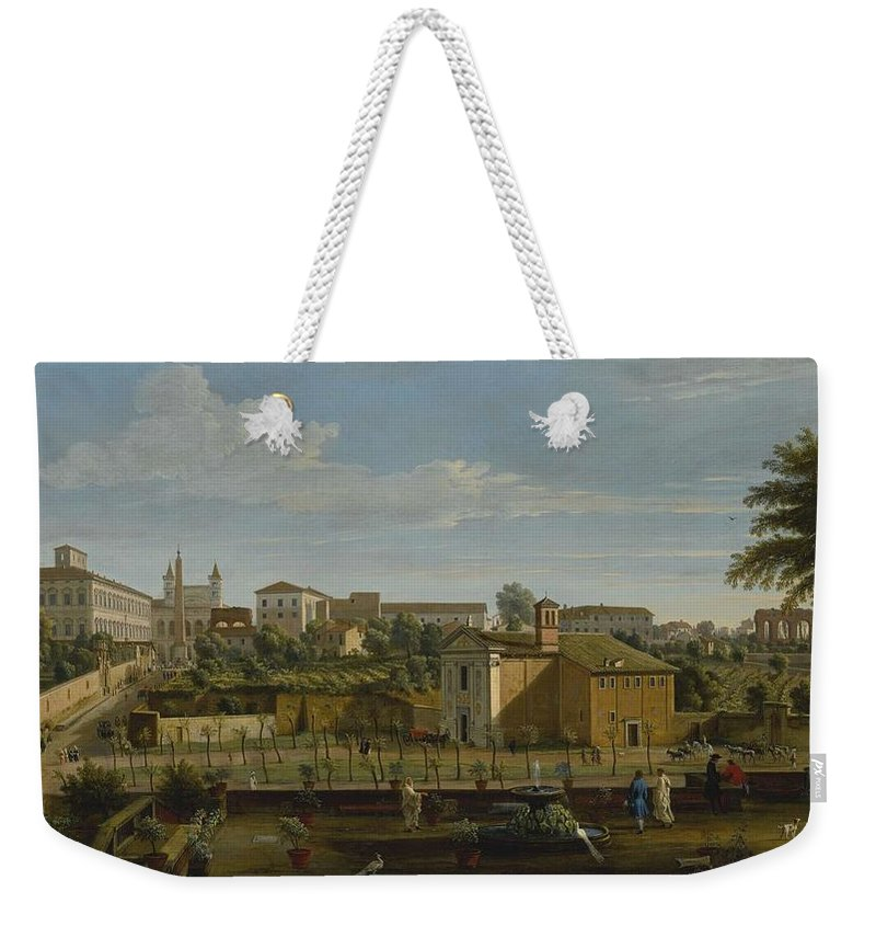 Nature Weekender Tote Bag featuring the painting Gaspar Van Wittel Called Vanvitelli Amersfoort 1652  1736  Rome A View Of The Church Of Santi M by Church Of Santi Marcellino E Pietro
