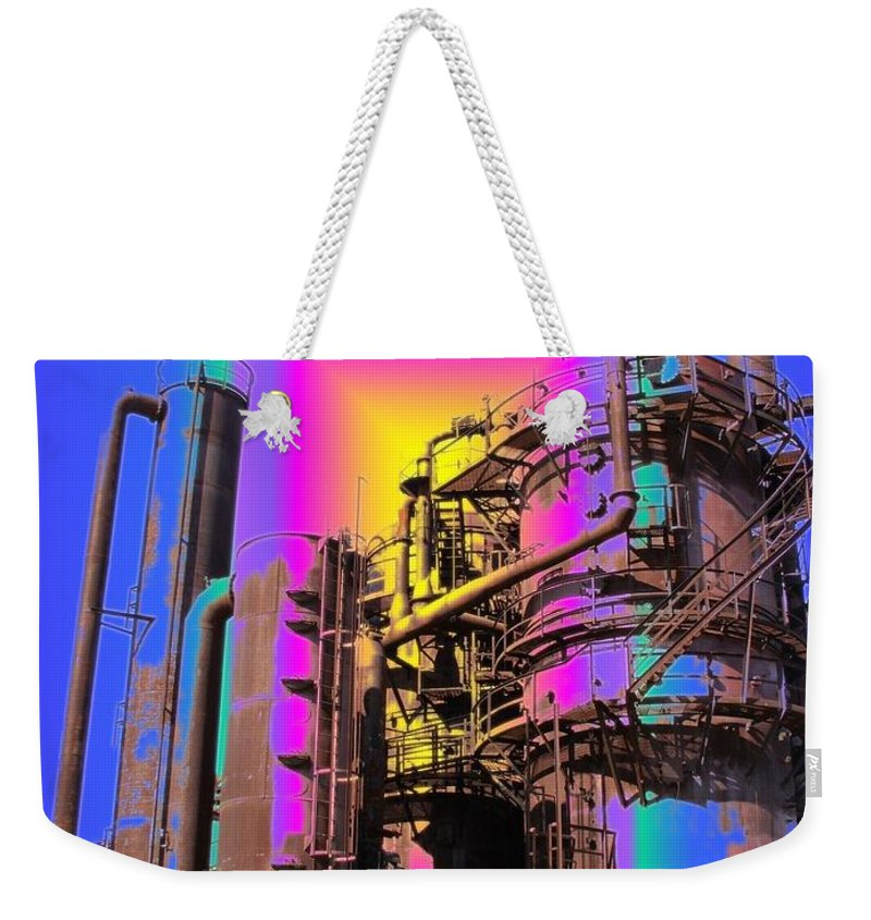 Seatttle Weekender Tote Bag featuring the digital art Gasworks Park 2 by Tim Allen