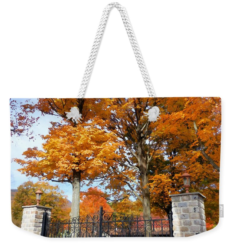 Gate And Driveway Weekender Tote Bag featuring the painting Gate And Driveway 3 by Jeelan Clark