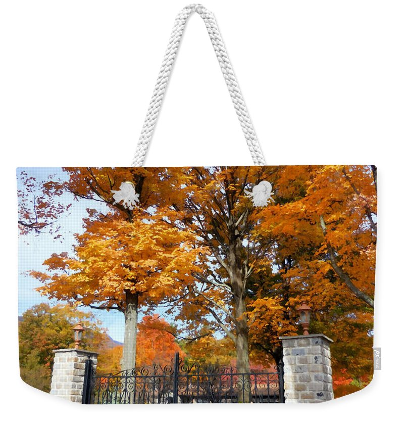 Gate And Driveway Weekender Tote Bag featuring the painting Gate And Driveway by Jeelan Clark