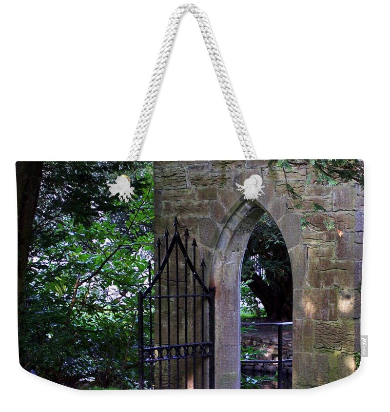 Irish Weekender Tote Bag featuring the photograph Gate At Cong Abbey Cong Ireland by Teresa Mucha