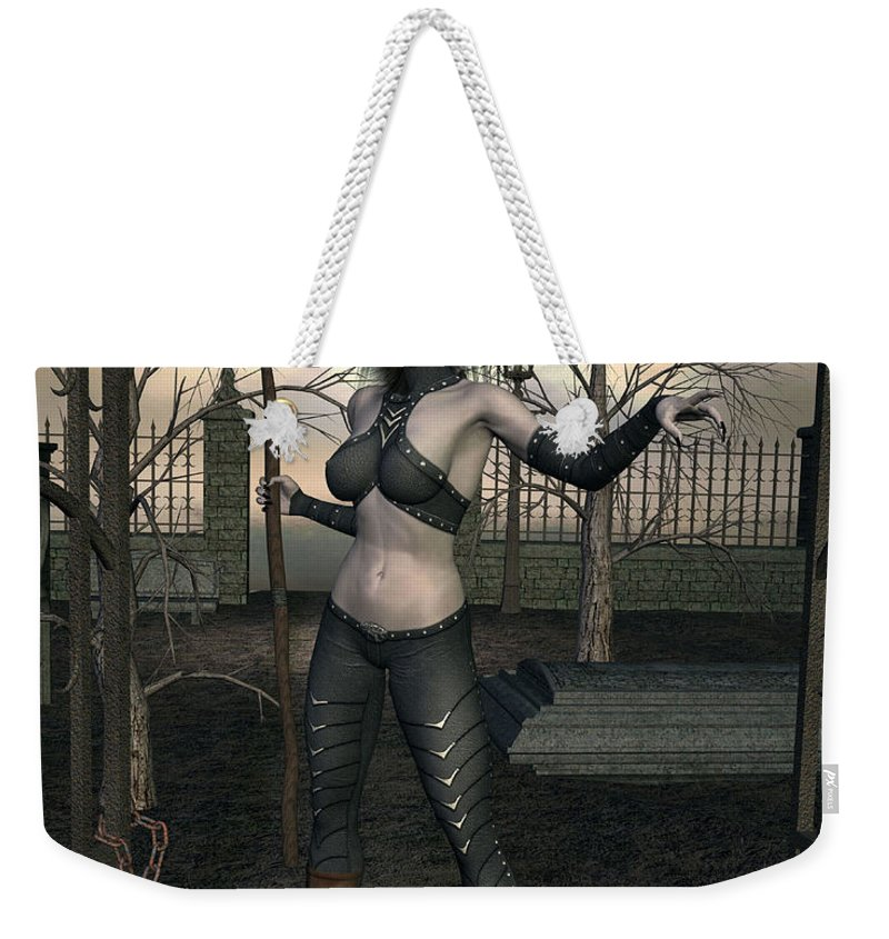 Demon Weekender Tote Bag featuring the digital art Gate Keeper by John Junek