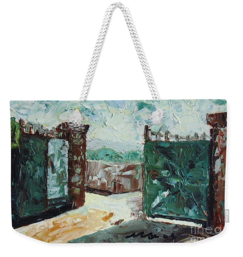 Gate Oil Canvas Weekender Tote Bag featuring the painting Gate2 by Seon-Jeong Kim