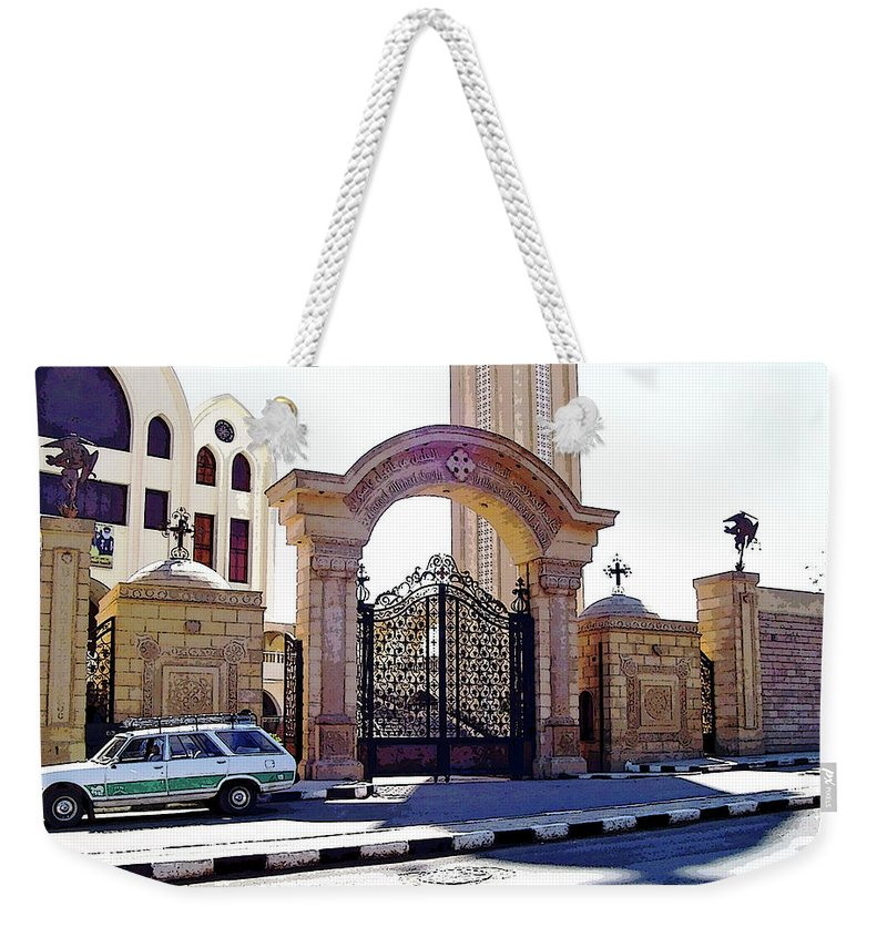 Aswan Weekender Tote Bag featuring the photograph Gates Of Archangel Michael Cathedral by Debbie Oppermann
