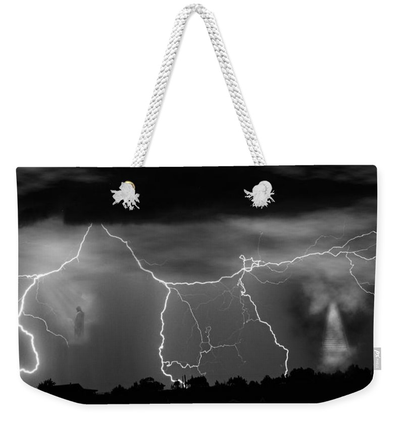 Religious Weekender Tote Bag featuring the photograph Gates To Heaven Black And White by James BO Insogna