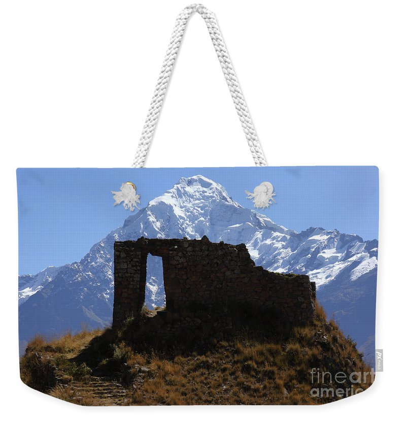 Peru Weekender Tote Bag featuring the photograph Mt Veronica And Inti Punku Sun Gate by James Brunker