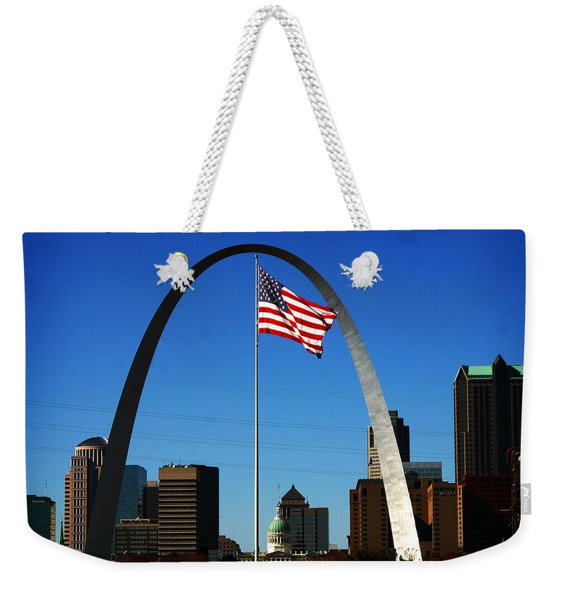 Arch Weekender Tote Bag featuring the photograph Gateway To The West by Anthony Jones