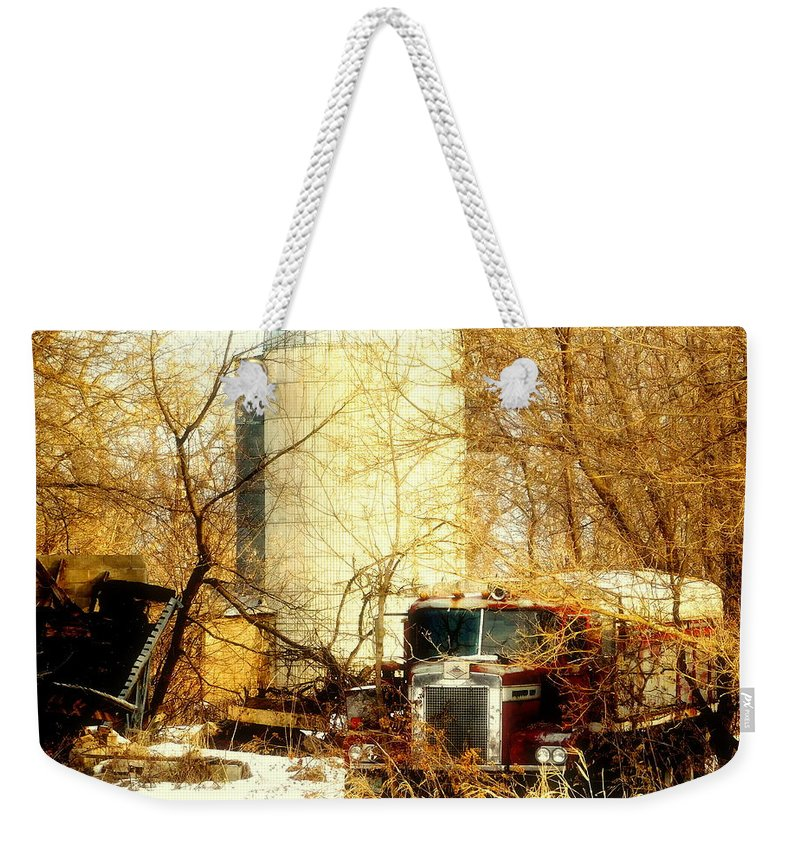 Truck Weekender Tote Bag featuring the photograph Gathered Under The Silo by Curtis Tilleraas