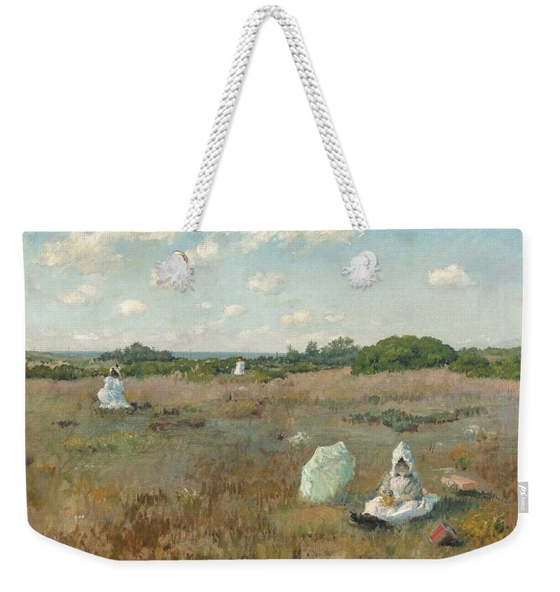 Nature Weekender Tote Bag featuring the painting Gathering Autumn Flowers By William Merritt Chase by William Merritt Chase