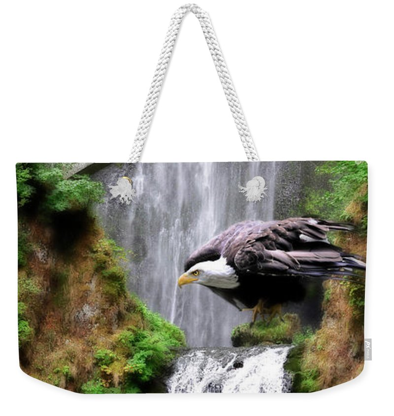 Eagles Weekender Tote Bag featuring the painting Gathering Of Eagles by Constance Woods
