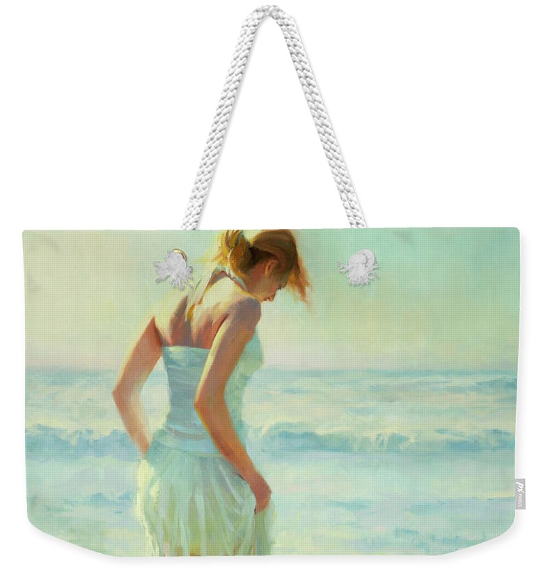 Seashore Weekender Tote Bag featuring the painting Gathering Thoughts by Steve Henderson