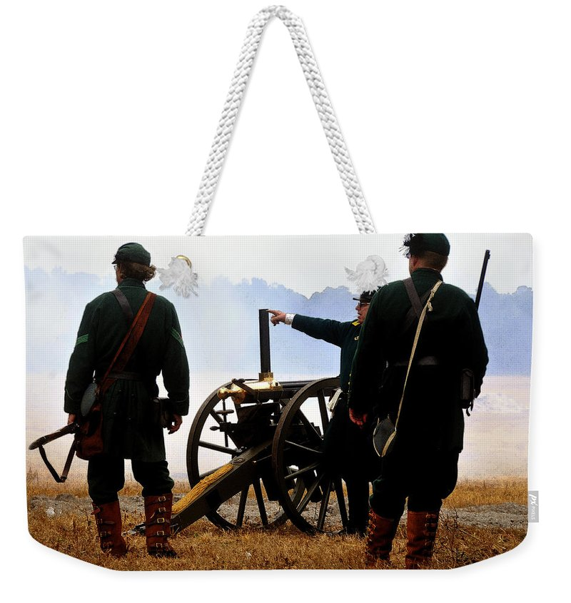 Gatling Gun Weekender Tote Bag featuring the painting Gatling Gun On The Battle Field by David Lee Thompson