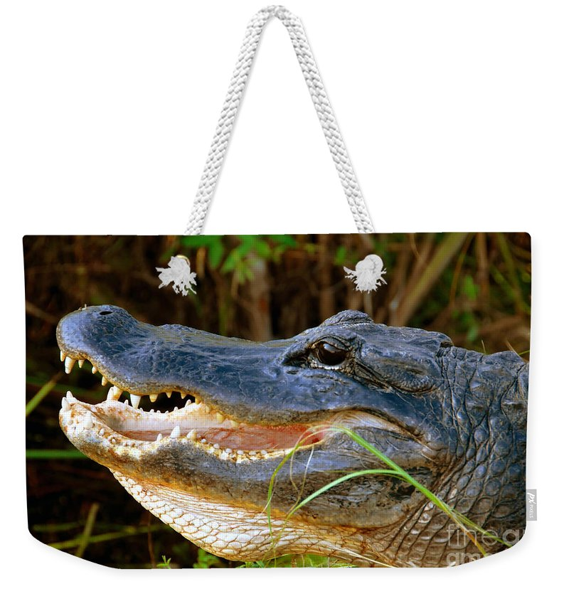 Alligator Weekender Tote Bag featuring the photograph Gator Head by David Lee Thompson