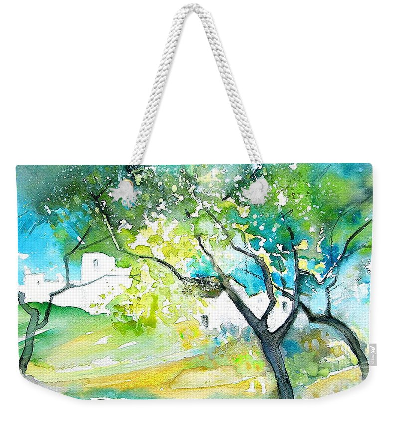 Spain Painting Water Colour Sketch Travel Gatova Weekender Tote Bag featuring the painting Gatova Spain 04 by Miki De Goodaboom
