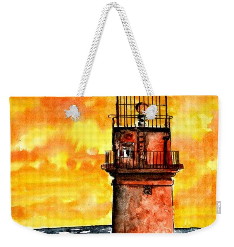 Beach Weekender Tote Bag featuring the painting Gay Head Lighthouse Martha's Vineyard by Derek Mccrea