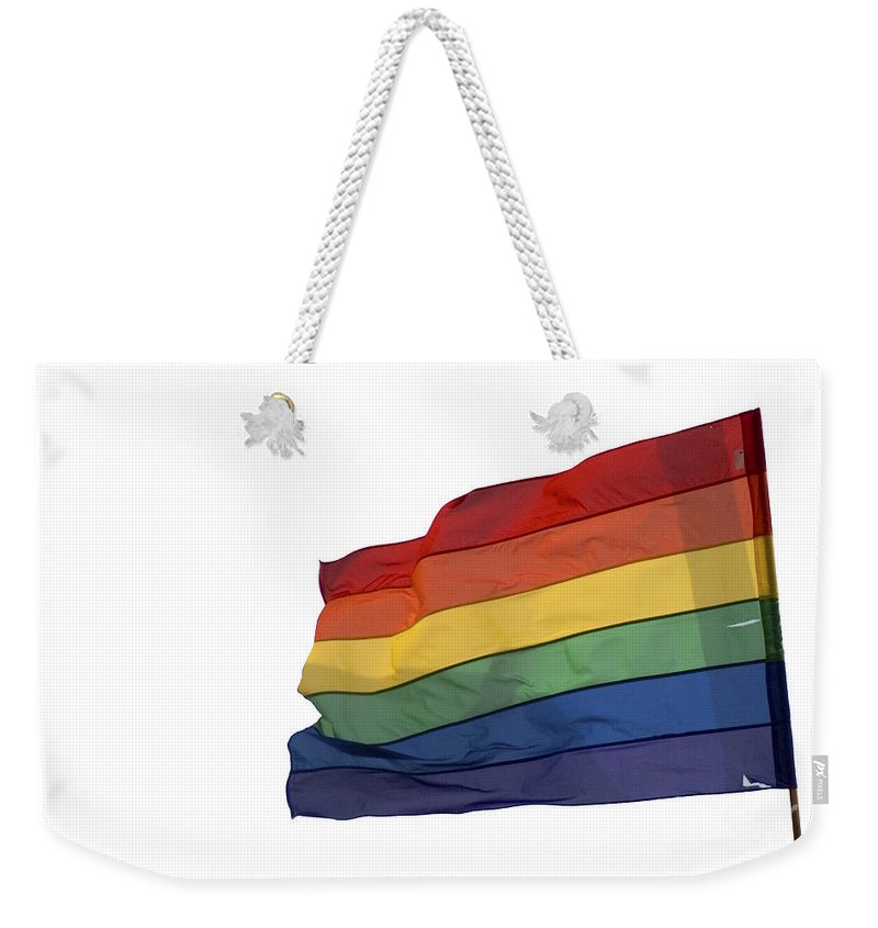 Flag Weekender Tote Bag featuring the photograph Gay Rainbow Flag by Ilan Rosen