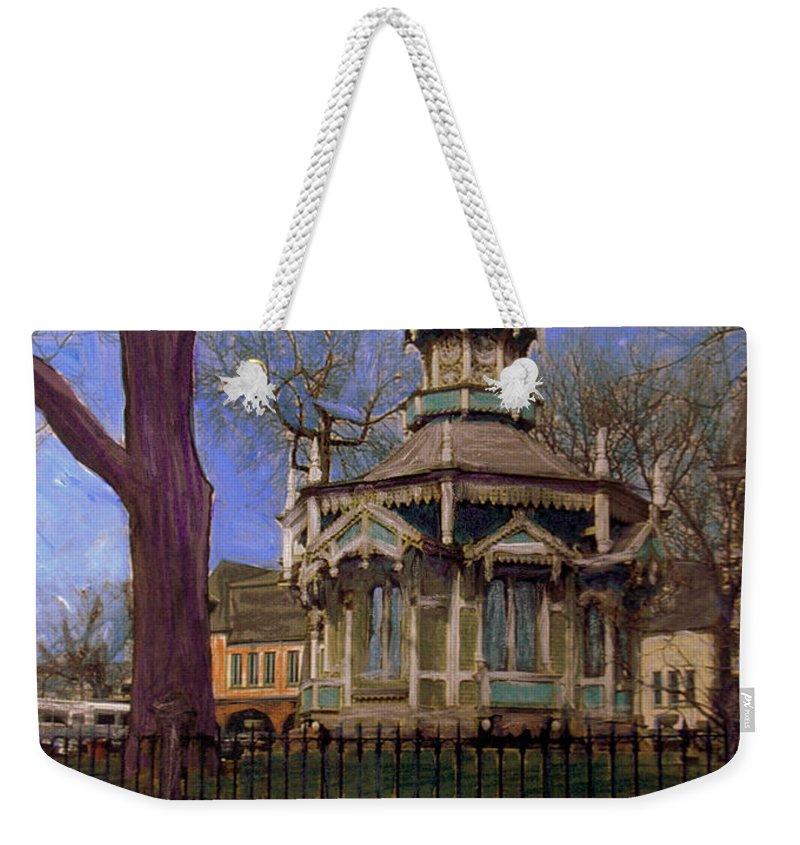 Gazabo Weekender Tote Bag featuring the mixed media Gazebo At Wisconsin Club by Anita Burgermeister