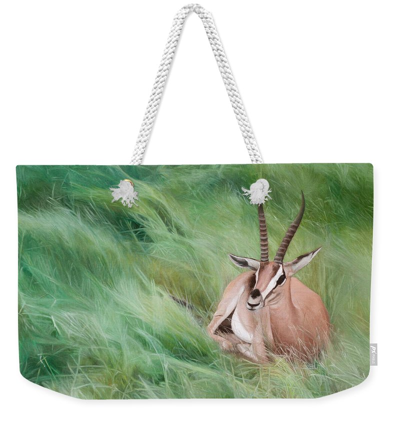 Gazelle Weekender Tote Bag featuring the painting Gazelle In The Grass by Joshua Martin
