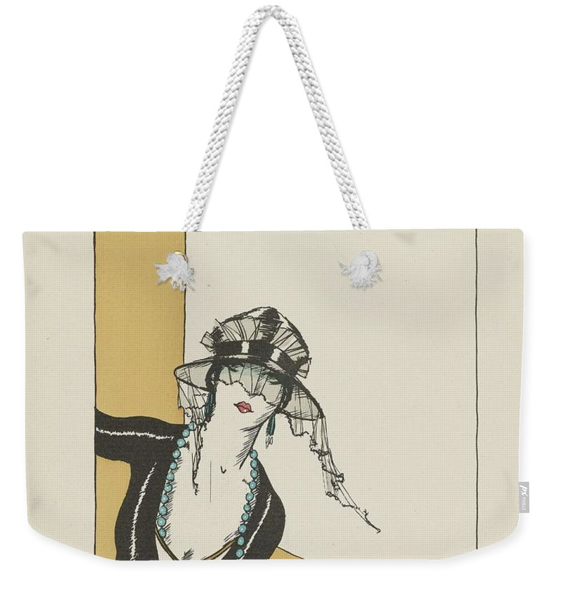 Art Weekender Tote Bag featuring the painting Gazette Du Bon Ton 1921  No 4 Pl 27 Bonjour by Gazette du Bon Ton