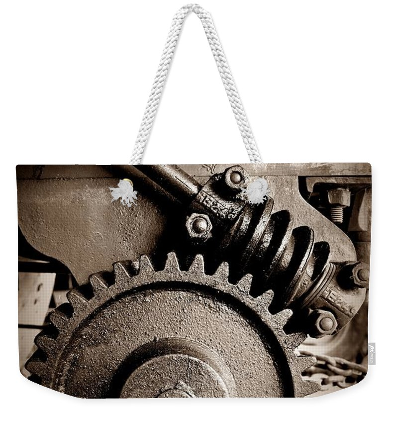 Gear In Sepia Weekender Tote Bag featuring the photograph Gear In Sepia by Chalet Roome-Rigdon