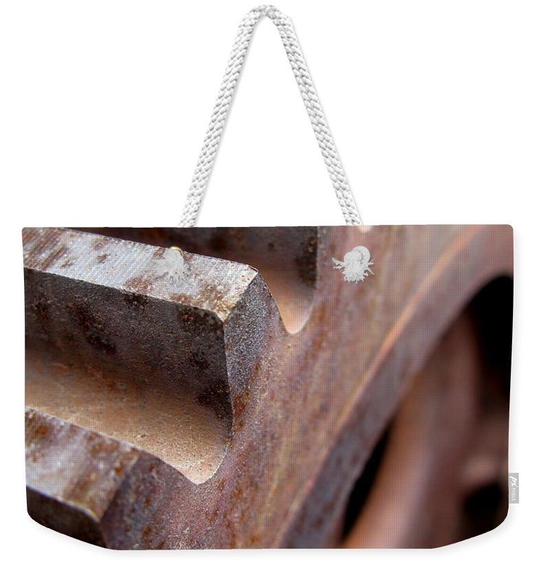 Rust Weekender Tote Bag featuring the photograph Gear by Jeffery Ball