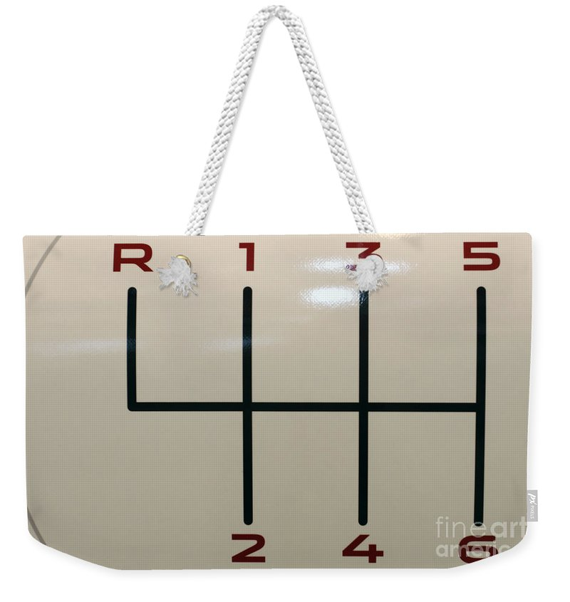 Auto Weekender Tote Bag featuring the photograph Gear Shift Knob Pattern by Alan Look